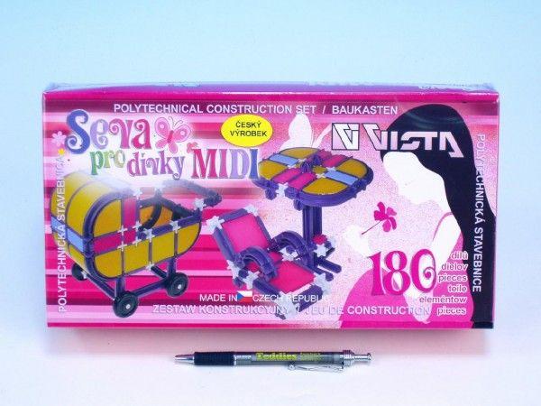 Stavebnice Seva pro dívky midi plast 180ks v krabici 31,5x16,5x7,5cm Vista
