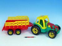 Traktor s vlekem plast 75cm asst 2 barvy v síťce