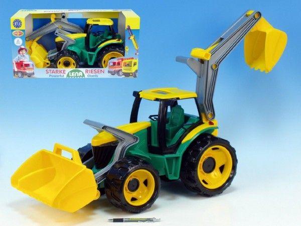 Traktor se lžící a bagrem plast zeleno-žlutý 65cm v krabici od 3 let Lena