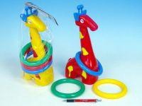 Žirafa plast 33cm s kroužky asst 3 barvy v sáčku od 18 měsíců