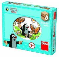 Kostky kubus Krtek dřevo 6ks v krabičce 18x13x4cm Dino