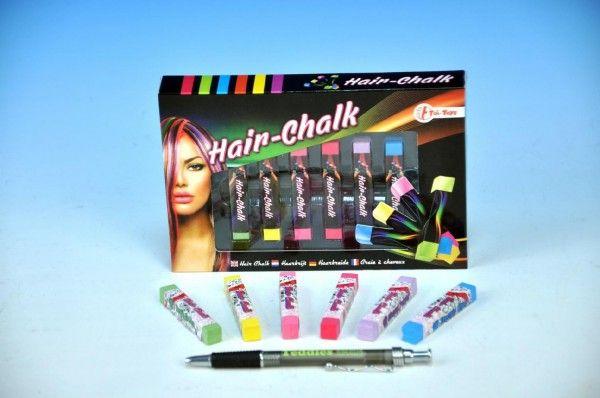 Křídy na vlasy asst 2 barvy 6ks v krabičce pro malé parádnice Teddies