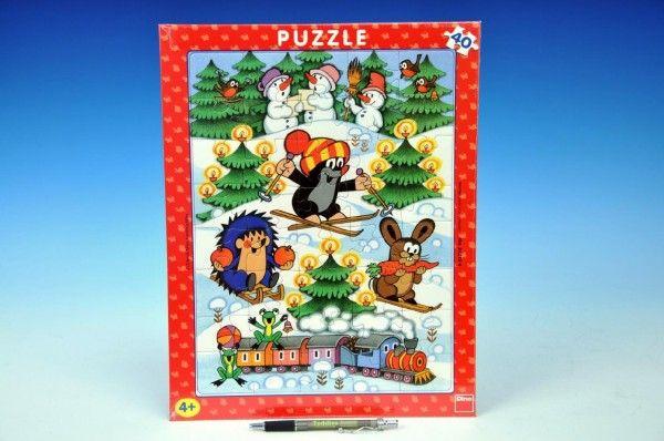 Puzzle deskové Krtek na sněhu 29x37cm 40dílků Dino