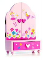 Zrcadlo šperkovnice Princess 3-dílné zásuvka dřevo 16x25x8cm v krabici Teddies