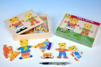 Šatník medvědi dřevo barevný v krabici 19x14x4cm