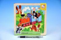 Skládačka Puzzle Krtek a mašinka dřevo 20ks vlak