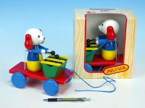 PPes s xylofonem dřevo tahací, hračka, dřevěná hračka, český výrobek, Miva