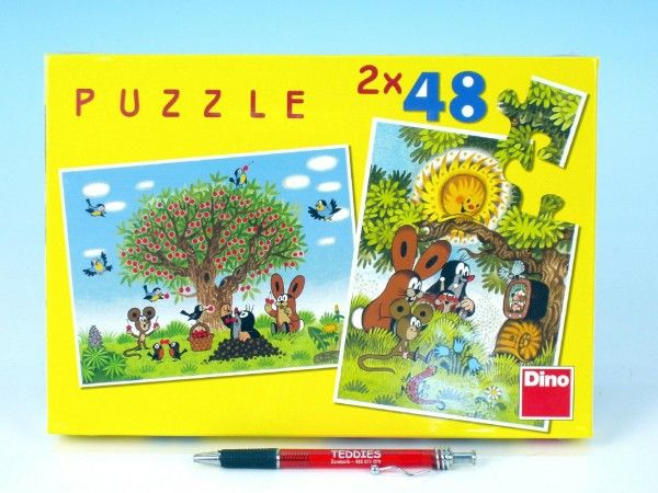 Puzzle Krtek Léto s Krtečkem 26,4x18,1cm 2x48 dílků v krabici 27x19x3,5cm Dino