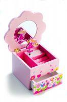 Skříňka šperkovnice Princess dřevo hrající květina zásuvka pro holky Teddies