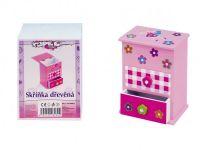 Skříňka šperkovnice růžová 2 zásuvky odklápěcí vrch police dřevo pro malé parádnice Teddies