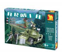 Stavebnice Dromader Vojáci Tank + Vrtulník 22605 253ks v krabici 32x21,5x5cm