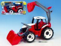 Traktor se lžící a bagrem plast červeno-bílý 65cm v krabici od 3 let Lena