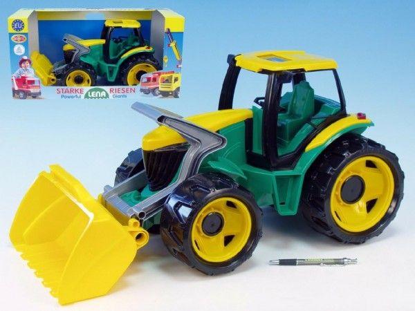 Traktor se lžící plast zeleno-žlutý 65cm v krabici od 3 let Lena