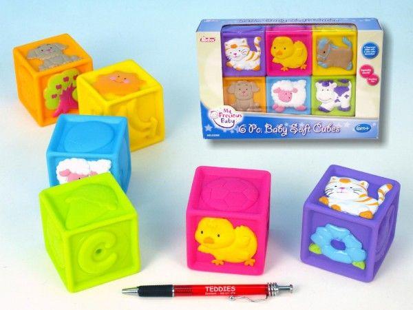 Dětské pískací kostky gumové 6ks v krabici od 6 měsíců pro miminka Teddies