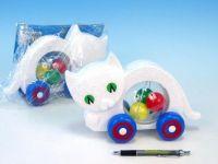 Kočka s míčky tahací plast 27x16x10cm v sáčku od 12 měsíců