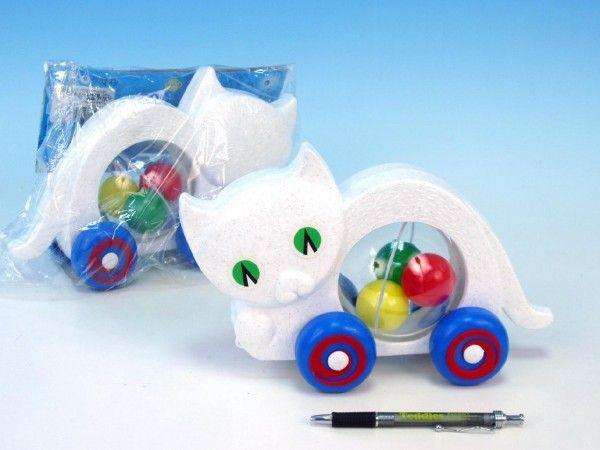 Kočka s míčky tahací plast 27x16x10cm v sáčku od 12 měsíců Směr