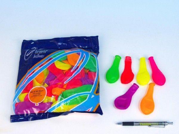 """Balonek nafukovací 7"""" párty neon 100 ks v sáčku karneval Smart Balloons"""