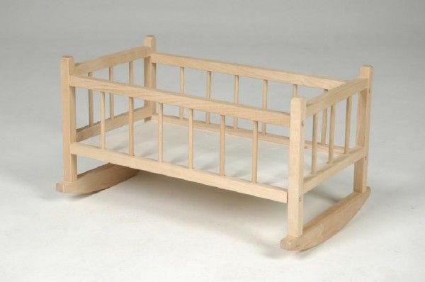 Kolébka pro panenky dřevo 49x28x27cm v sáčku dřevěná kolébka