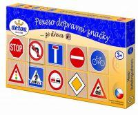 Pexeso dopravní značky dřevo 36ks 4x4x0,6cm v krabici Detoa