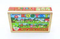 Kostky kubus Moje první zvířátka dřevo 15ks v dřevěné krabičce 20x13x5,2cm Teddies
