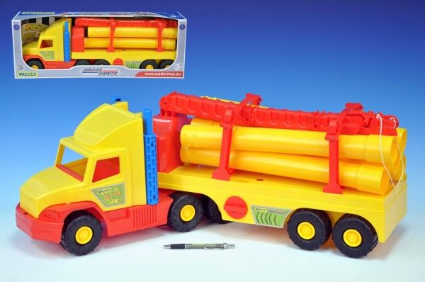 Auto Super Truck stavební s rourami Wader 76cm asst 2 barvy v krabici