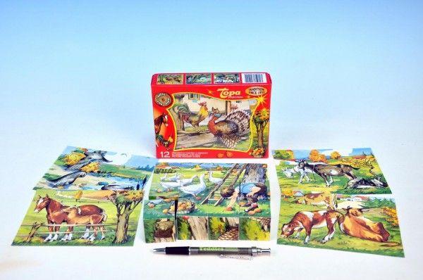 Kostky kubus Zvířátka Statek dřevo 12ks v krabičce 16,5x12,5x4cm TOPA