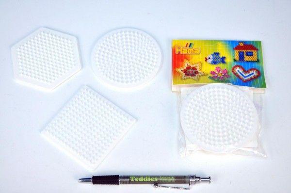 Podložka na zažehlovací korálky - kolečko,čtverec,šestiúhelník 3ks v sáčku Lowlands