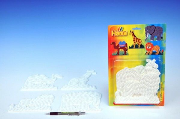 Podložka na zažehlovací korálky - slon,žirafa,lev,velbloud 4ks na kartě Lowlands