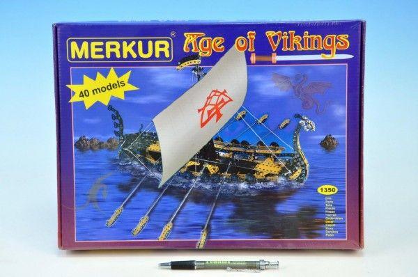 Stavebnice MERKUR Age of Vikings 40 modelů 1350ks v krabici 36x27x5,5cm Merkur Toys