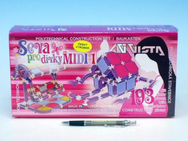 Stavebnice Seva pro dívky MIDI 1 plast 193ks v krabici 31,5x16,5x7,5cm Vista