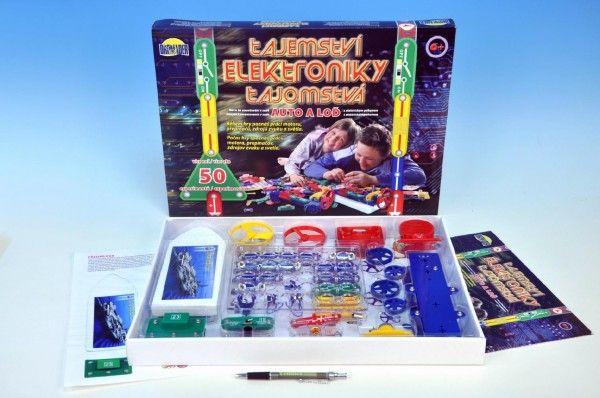 Tajemství elektroniky - Auto, loď 50 experimentů na baterie v krabici 46,5x33,5x4cm od 6 let Dromader