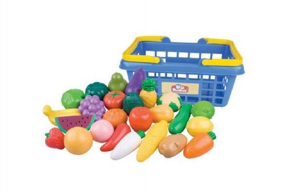 Nákupní košík ovoce/zelenina 25ks plast 28x13x22cm v síťce Teddies