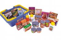 Nákupní košík s potravinami 23ks plast 28x13x21cm v síťce