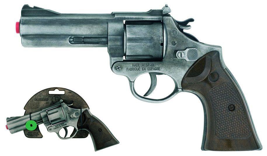 Policejní revolver Gold colection stříbrný kovový 12 ran Alltoys Gonher