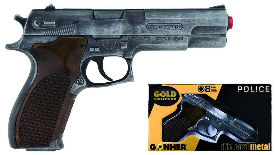 Policení pistole Gold colection stříbrná kovová 8 ran Gonher