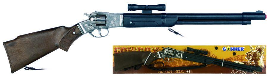 Puška kovbojská s dalekohledem kovová - 8 ran Gonher