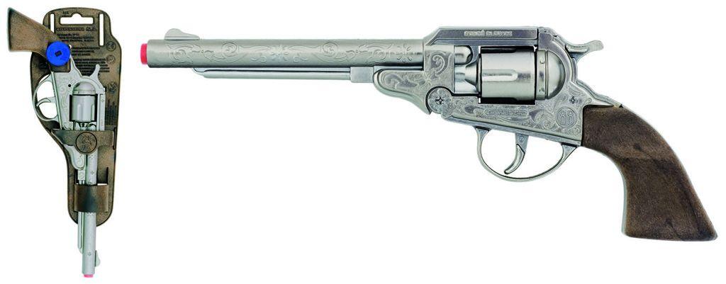 Revolver kovbojský stříbrný, kovový - 8 ran Gonher