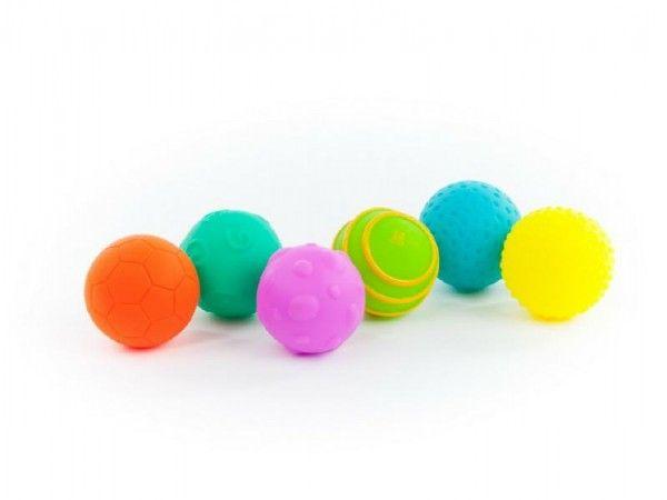 Sada míčků 6ks s texturou gumové 6cm v krabici 6m+ Teddies