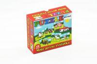 Puzzle Moje první zvířátka dřevěné 18 dílků pro nejmenší v krabičce 13x11,5x4,5cm od 12 měsíců Teddies