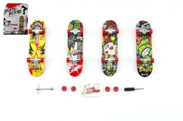 Skateboard prstový plast 10cm s doplňky asst na kartě Teddies