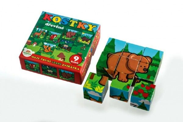 Kostky kubus dřevěné Moje první lesní zvířátka dřevo 9x9x3cm 9ks v krab.11x11x6cm od 12 měsíců MPZ Teddies