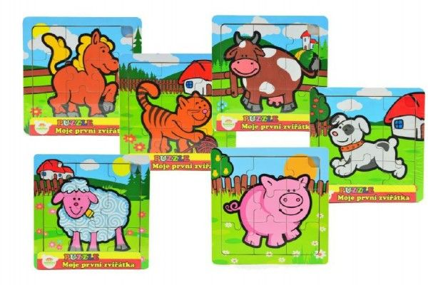 Mini puzzle dřevěné 9 dílků Moje první zvířátka pro nejmenší 15x15x0,8cm asst 6 druhů MPZ 12m+ Teddies