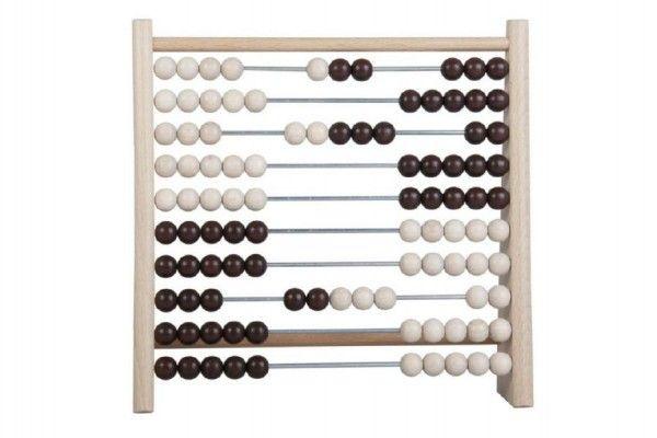 Počítadlo 100 kuliček dřevo/kov 24x23cm v sáčku Detoa