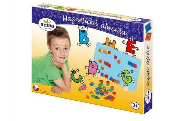 Magnetická abeceda dřevo 75ks v krabici 33x23x3,5cm Detoa