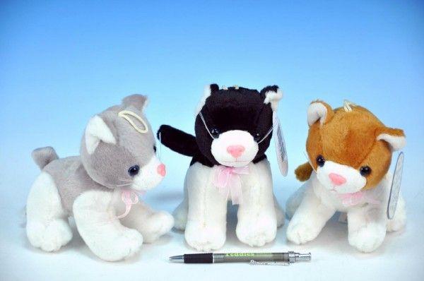 Kočka plyš 13cm s mašlí na baterie se zvukem asst 3 druhy od 0 měsíců Teddies