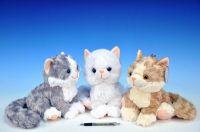 Kočka plyš 25cm na baterie se zvukem asst 3 barvy od 0 měsíců
