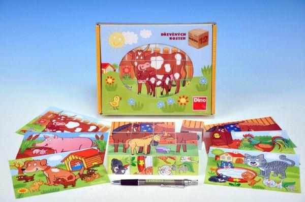 Kostky kubus Domácí zvířátka dřevo 12ks v krabičce 22x17x4cm Dino