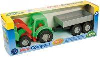 Traktor Mini Compact s přívěsem plast 24cm v krabici Lena