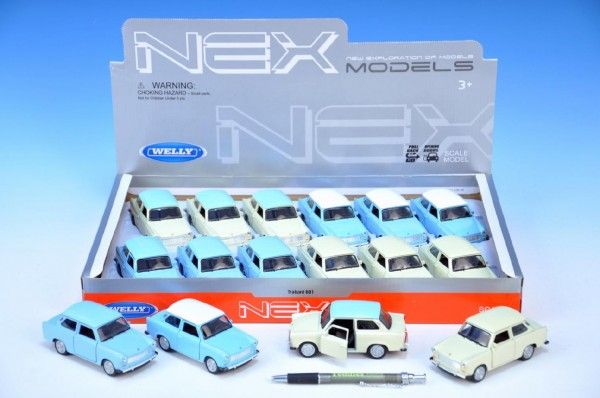 Auto Welly Trabant 601 kov 10,5cm na zpětné natažení asst 4 barvy 12ks v boxu Teddies