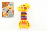 Chrastítko žirafa plast 15cm na kartě 3m+